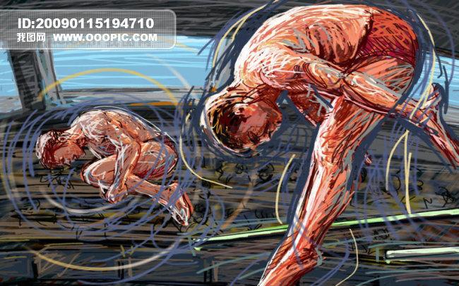 线条手绘人物之跳水图片下载