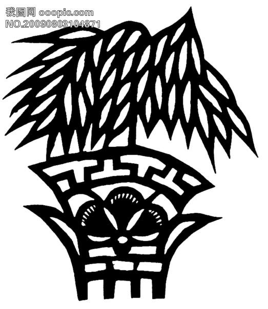 剪纸图案大全简单图解 对称树木